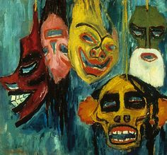 Expressionism - Art movement that focused on truth in human spirit, the subconscious, and distorted reality.  This piece is entitled Masks by Emil Noble in 1911.