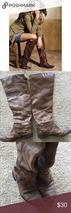 OTK Victoria's Secret riding boots OTK VICTORIAS SECRET RIDING BOOTS. These are super comfy.  Please see pics, there is some damage, hence the lower price for real leather boots.   🌙If it is listed it is available ⭐️No trades ☀️No PayPal Victoria's Secret Shoes Over the Knee Boots