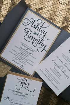ADELE Suite Glitter Pocket Folder Package, affordable glitter invitations, pocket folder, glitter envelope liners, digital flat printing
