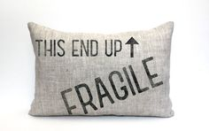 Fragile pillow; makes a great gift or decor for Christmas, holiday decoration, A Christmas Story, Leg Lamp  → F I N I S H E S ← ● F A B R I C ● 100% linen / rustic texture ~ ohhh! ● I N K ● black / distressed appearance ~ ahhh! ● I N S E R T ● a synthetic down insert is included ~ yay!  → S I Z E ← Choose preference in drop down menu.  → C A R E ← Spot clean with mild detergent, air dry; warm iron on reverse when necessary  → S H O P ● I N F O ← Check coverLoves policy page for announcements…