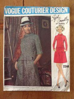 Vogue Couturier Design 2244, Sybil Connolly, 1969 A-Line Dress Bust 38