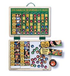 Melissa & Doug, Magnetic Responsibility Chart.  Can all the slots say 'STOP WHINING'?!?