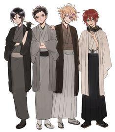 the secret of touken ranbu Reborn Katekyo Hitman, Hitman Reborn, Fantasy Characters, Anime Characters, Mutsunokami Yoshiyuki, Nikkari Aoe, Japanese Costume, Standing Poses, Handsome Anime