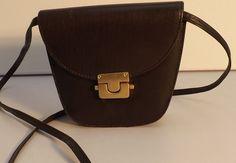 Vintage Small Dark Brown Leather shoulder bag With Brass coloured  bolt catch
