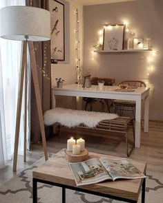 35 Inspiring Small Dining Room Design And Decor Ideas - Your dining room is a space for family meals therefore you are looking for it to have great interior design. But how can you make a small dining room . Dining Table In Living Room, Dining Table Lighting, Small Dining, Living Room Decor, Bedroom Decor, Ikea Bedroom, Bedroom Furniture, Dining Chairs, Bedroom Storage