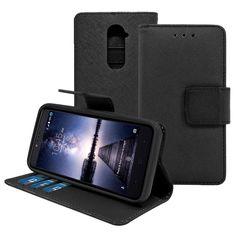 ZTE Zmax Pro / Z981 Leather Wallet Pouch Case Cover Black