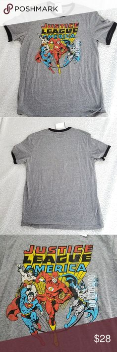 Justice League t shirt • Justice League t shirt •Brand new with tags; never worn •This speckled gray shirt features the core four members of the Justice League: the Flash, Batman, Superman and Wonder Woman! •Perfect for any comic fan on tbe run or for lounging around! 😁😁😁😁  Measurements:  Chest~~ 20.5 inches Length ~~ 28 inches Hybrid Shirts Tees - Short Sleeve