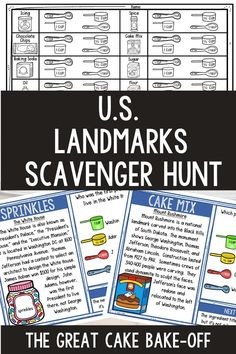 The U.S. Landmarks Scavenger Hunt Challenge allows students to move around the classroom while reading passages and answering questions. The activity is structured as a cake bake-off where students determine the missing ingredients of a recipe. Fun geography activity for upper elementary and middle school. #Geography #ThinkTank #USLandmarks #HomeSchool #ScavengerHnt #4thgrade #5thgrade #6thgrade #Interactive #MiddleSchool #UpperElementary Earth Science Activities, Earth Science Lessons, Geography Activities, Science Lesson Plans, History Activities, Holiday Activities, Reading Passages, Reading Comprehension, Upper Elementary Resources