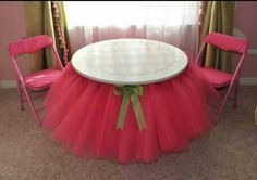 Cute idea for a girls playroom or something! Super glue a tutu under the table! Love this!!