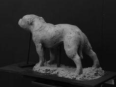 Clay for bronze #sculpture by #sculptor Ellen Christiansen titled: 'Phoebe (bronze Bitch Dog life size statue statuette sculpture)'. #EllenChristiansen