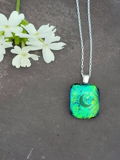 Moon & Stars Petite Pendant, Fused Glass jewelry, Fused Glass Jewellery, Moon Pendant, Dichroic Glass, Green Sparkly Necklace, Gift for Her
