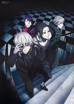 These guys look like they're about to f**k shit up! - Kaneki Ken, Uta, Tsukiyama Shuu, Yomo Renji - Tokyo Ghoul