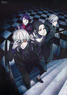 These guys look like they're about to f**k shit up! - Kaneki Ken, Uta, Tsukiyama Shuu, Yomo Renji - Tokyo Ghoul