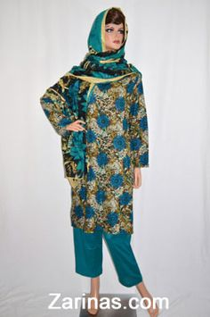 Qamar-Gul Women's Perahan Tunbaan.   Stylish and comfortable women's style salwar kameez, or perahan tunbaan. Made from a soft, light weight, and floral fabric. The style fits loosely, making it a modest, knee length style. Comes with matching pants and head scarf. Typically worn by Muslim women in Afghanistan, Pakistan, and other countries in South East Asia. Available in the following sizes: Small, Medium, and Large (out of stock).  Color: Teal Blue