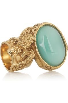 Yves Saint Laurent|Arty gold-plated glass ring|NET-A-PORTER.COM