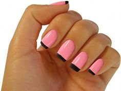 Pink & Black French Nails
