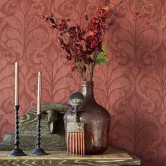 Damask Vallon Wallpaper. Eijffinger Siroc book by Brewster. http://lelandswallpaper.com
