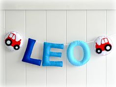 Personalized felt name banner  wall name art  by LullabyMobiles