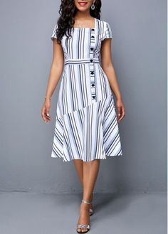 dress for women Button Detail Square Collar Stripe Print DressShop casual Dresses online,Dresses with cheap wholesale price,shipping to worldwideNew Arrival Dress Tight Dresses, Sexy Dresses, Cute Dresses, Short Sleeve Dresses, Dresses For Work, Elegant Dresses, Summer Dresses, Formal Dresses, Wedding Dresses