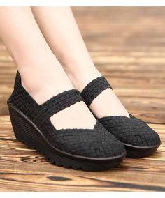 30d1d49c Women's #black slip on wedge shoe #sandals weave check design, Low cut,