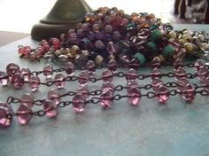 Sparkling Light Amethyst Baroque Rondelles glass Beaded Chain Aged Dark Patina wire links on Etsy, $11.50