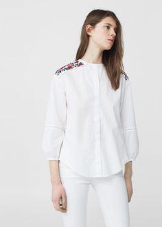 Blusa algodão bordados | MANGO