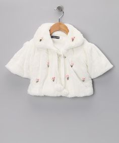 Take a look at this White Seashell Pom-Pom Minky Shrug - Infant on zulily today!