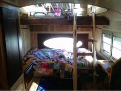 The Green Cedar Bus - interior of converted school bus