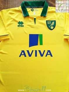 Relive Norwich City's season with this original Errea home football shirt. Norwich City Football, Flight Club, Fa Cup, Football Jerseys, How To Memorize Things, Store, Classic, Mens Tops, Soccer Jerseys