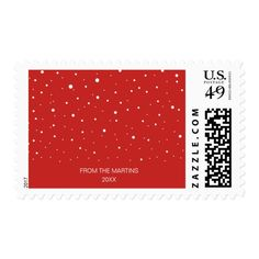 Festive Custom Snow Pattern on Red Holiday Postage #christmas #postage #stamps