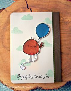 "2 Cute Ink ""Ballon Birdie"" and Lawn Fawn ""Flying by"" card"