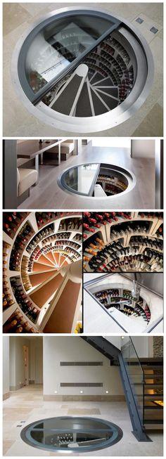 Spiral Wine Cellar. Some inspiration for my walk-down master closet! :)