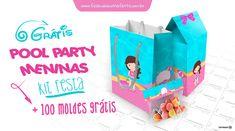 Free Large Party Printable Set---- Verão, calor, piscina, combinação perfeita! Que tal fazer uma festa na Piscina? Veja o kit festa Pool Party Meninas com 150 moldes para festa personalizada