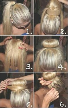Sock bun - I did this for my hair this morning, super easy! @Jennifer Milsaps L Little you should try this out!