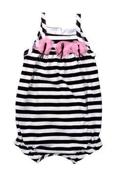 Black Stripe Romper for Baby.