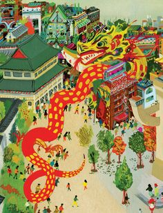 A dragon detail taken from a double gatefold painting of Vancouver's Chinatown by the ultra-talented Rachell Sumpter. From LP5, the Chinatown issue.