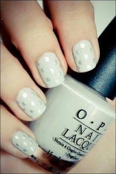 Silver polka dot nails