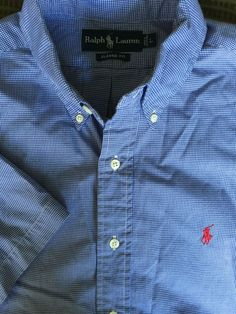 Men Ralph Lauren Classic Fit Blue White Checked Large Shirt  S/S Red Polo Horse #RalphLauren #ButtonFront