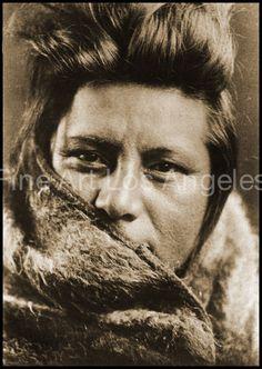 Edward Curtis Photo - A Young Umatilla