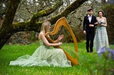 Medieval Renaissance Fantasy Wedding music -- Harpist for medieval wedding dressed like a fairy.