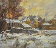 Snow Effect Sunset  Claude Monet hand-painted oil by PaintingMania