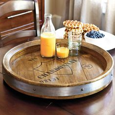 Our Wine Barrel Server is ideal for serving tapas and hors d'oeuvres. The deep tray top turns a full 360 degrees, so everyone can reach their favorites. Wine Barrel Lazy Susan, Tapas, Barris, Barrel Projects, Diy Projects, Wine Barrel Furniture, Wine Decor, Bourbon Barrel, Blanton's Bourbon