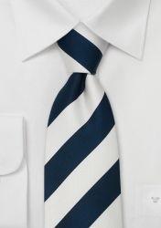 Breit gestreifte Krawatte nachtblau/weiß günstig kaufen