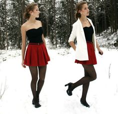 1. White Coat  2. Sweet Heart Black Top  3. Red Pleated/Flared Mini Skirt  4. Patterned Stockings  5. Black Pumps