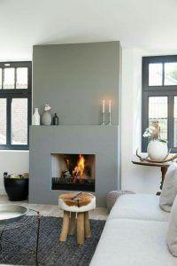 Cozy Corner Fireplace Design Ideas in the Living Room Home Fireplace, Living Room With Fireplace, Fireplace Design, Home Living Room, Living Room Decor, Fireplace Ideas, Grey Fireplace, Modern Fireplaces, Living Area