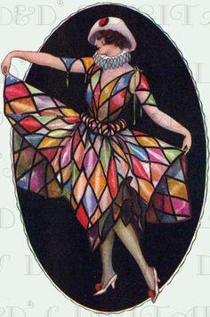 Spectacular Harlequin Dressed FLAPPER. Vintage Digital   Etsy
