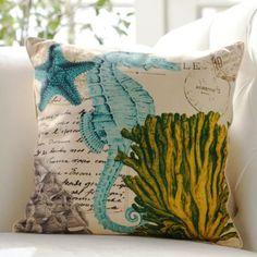 Coastal-Themed Seahorse Throw Pillow | Kirklands