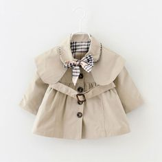 2017 Plaid Bow Trench Coat