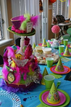 Fun table decor at an Alice in Wonderland Birthday Party!  See more party ideas at CatchMyParty.com!  #partyideas #alice