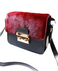 Retro Horsehair Splicing Shoulder Bag